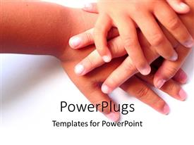 PowerPlugs: PowerPoint template with various hands above each other with white background