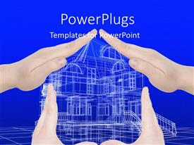 PowerPoint template displaying various hands representing a house with bluish background