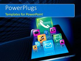 PowerPlugs: PowerPoint template with various icons like message, video, phone, chat, globe, camera over tablet on blue background