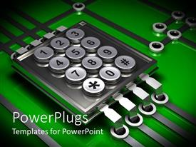 PowerPlugs: PowerPoint template with various number being displayed on a steel box with greenish background
