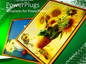 PowerPlugs: PowerPoint template with various paintings of flowers with green background