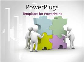 PowerPlugs: PowerPoint template with various people arranging puzzle pieces and place for text