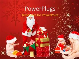 PowerPlugs: PowerPoint template with various people celebrating the Christmas with reddish background