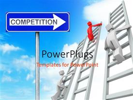 PowerPlugs: PowerPoint template with various people climbing the ladders with cloud sin the background and place for text
