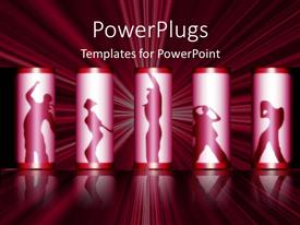 PowerPlugs: PowerPoint template with various people dancing in the silhouettes with illuminating background