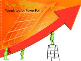 PowerPlugs: PowerPoint template with various people holding an arrow with orange background