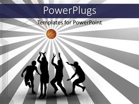 PowerPlugs: PowerPoint template with various people playing basketball  with multicolor background