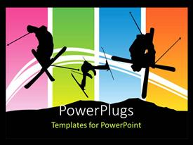 PowerPoint template displaying various people playing a sport with multicolored background