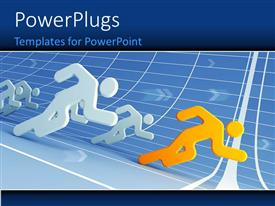 PowerPlugs: PowerPoint template with various people running in a race with lines in background