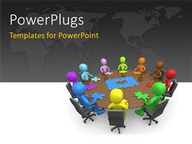 PowerPlugs: PowerPoint template with various people sitting at a round table with puzzle pieces in front