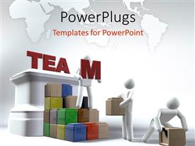 PowerPoint template displaying various people working as a team
