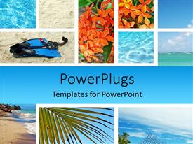 PowerPoint template displaying various pictures of the beach and the sea