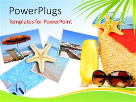 PowerPlugs: PowerPoint template with various pictures of the beaches with bluish background