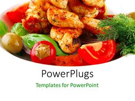 PowerPlugs: PowerPoint template with various pieces of grilled BBQ with white background