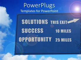 PowerPlugs: PowerPoint template with various road signs with clouds in the background
