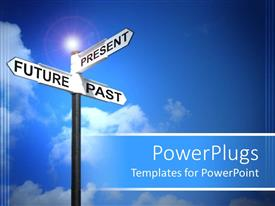 PowerPlugs: PowerPoint template with various street signs with bluish background