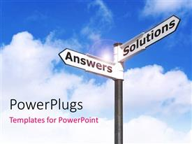PowerPlugs: PowerPoint template with various street signs with clouds in the background
