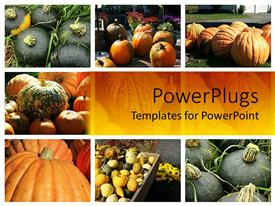 PowerPlugs: PowerPoint template with various tiles with different types of fruits on a yellow background