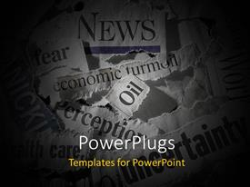 PowerPlugs: PowerPoint template with various torn newspaper headlines showing economic concepts