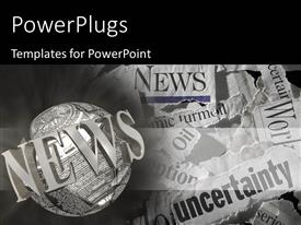 PowerPoint template displaying various torn newspaper headlines showing economic concepts with globe and News keyword
