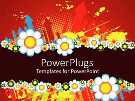 PowerPlugs: PowerPoint template with various types of flowers creating a beautiful background along with some arrows