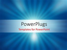 PowerPoint template displaying vector blurred and shiny blue rays background