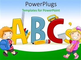 PowerPlugs: PowerPoint template with vector Depiction Featuring Letters of the Alphabet - Learning ABCs