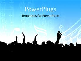 PowerPlugs: PowerPoint template with vector depiction of a musical concert event in blue and black