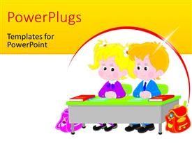 PowerPlugs: PowerPoint template with vector drawing of an elementary school students sitting at a desk in a class