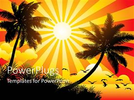 PowerPlugs: PowerPoint template with vector illustration showing sunny beach with birds and trees with sunrays