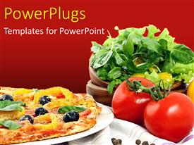 PowerPlugs: PowerPoint template with veg Pizza with toppings and vegetables, dark red color