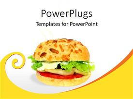 PowerPlugs: PowerPoint template with vegetable burger with green lettuce, white sauce, tomato slice on white background