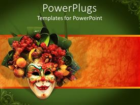 PowerPoint template displaying venetian mask carnival mask with various colorful fruits and green leaves