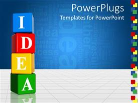 PowerPlugs: PowerPoint template with vertically stacked multicolored boxes with letters spelling Idea