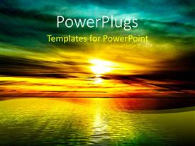 PowerPlugs: PowerPoint template with a colourful sunset view of a beautiful open ocean