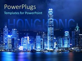 Theme enhanced with victoria harbor of Hong Kong at night with word Hongkong emerging behind skyscapers