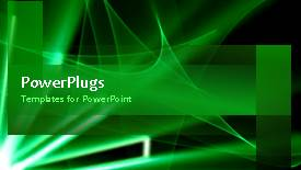 PowerPoint template displaying video of abstract rotating green waves in green background - widescreen format