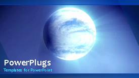 PowerPoint template displaying video of blue earth globe rotating in blue background