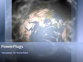 Theme enhanced with video with blue rotating earth globe in misty environment