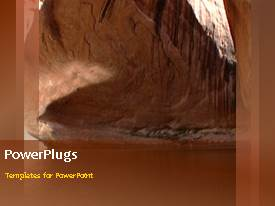 PowerPlugs: PowerPoint template with video depicting scenery of water between rocks on first slide and non-video design background on following slides
