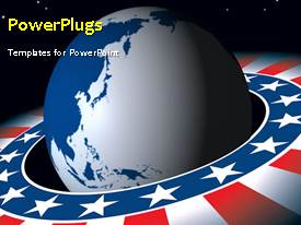 PowerPlugs: PowerPoint template with a video of an earth globe with an American flag colored orbit