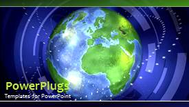 PowerPoint template displaying a video of an earth globe with some orbits revolving round it - widescreen format