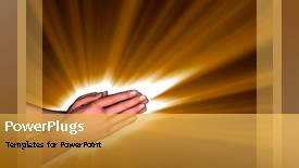 PowerPoint template displaying video of hands in prayer on first slide representing faith in God