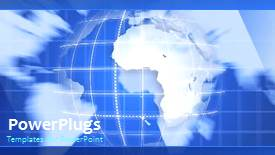 PowerPoint template displaying video of rotating blue earth globe in blue background