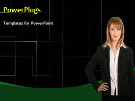 PowerPoint template displaying a video showing a business lady on a dark background