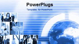 PowerPoint template displaying video showing business theme with collage of business depictions and spinning globe on first slide and static slides on following slides - widescreen format