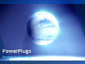 PowerPlugs: PowerPoint template with video of spinning globe on blue background for first slide and blue background on next slides