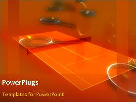 PowerPoint template displaying video of tennis balls and field in orange background