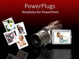 PowerPlugs: PowerPoint template with videography, camcorder, photographs, photography, red and black background
