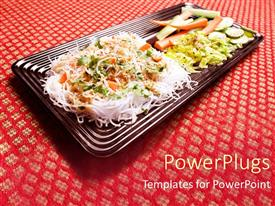 PowerPoint template displaying vietnamese bun noodles and vegetables, fine dining, Asian cuisine, restaurant